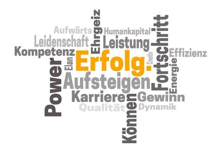 Erfolg Karriere Ehrgeiz (in german success career ambition) word cloud concept.