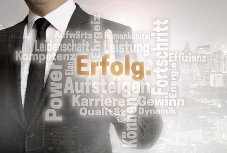 Businessman with urban background Erolg (in german success) wordcloud.