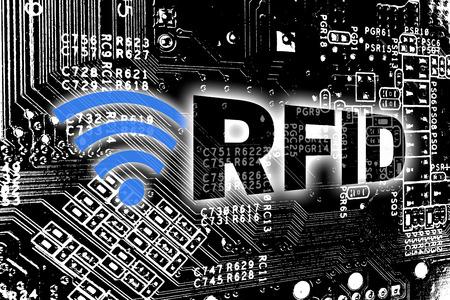 Photo pour RFID with circuit board concept background. - image libre de droit