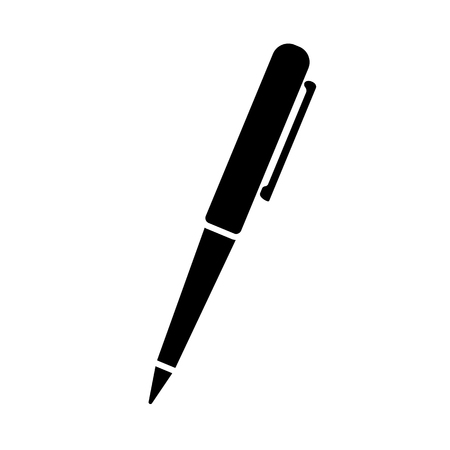 Illustration for Ballpoint pen icon. Simple ball pen with pocket clip. Vector Illustration - Royalty Free Image