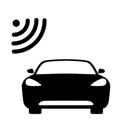 Illustration pour Connected car icon. Car front view and wifi, gps, wireless navigator or alarm signal. Vector Illustration - image libre de droit