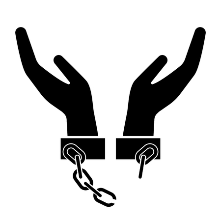 Illustration pour Broken handcuffs, manacles or shackles icon. Unchained hands as freedom symbol. Vector Illustration - image libre de droit