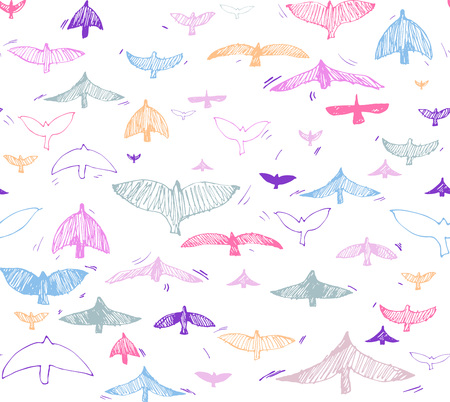 Ilustración de Print, seamless pattern with colorful doveson a white background. Vector illustration, Great design element for fabric, wrapping paper, congratulation cards, banners, flyers, and another - Imagen libre de derechos