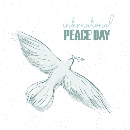 Ilustración de pigeon with a sprig and hand written text, background for International Day of peace. Vector illustration, design element for congratulation cards, print, banners - Imagen libre de derechos