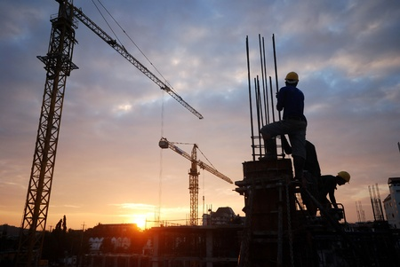 Foto per  silhouette of the building construction is not finished. - Immagine Royalty Free