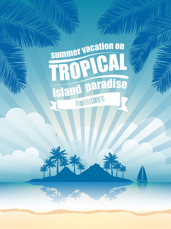 Illustration for summer vacation on tropical island  Sunset,  with Palm trees  - Royalty Free Image