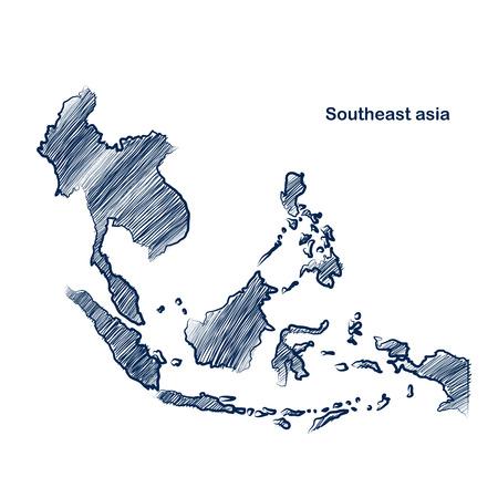 Illustration pour Southeast asia  map hand drawn background  - image libre de droit