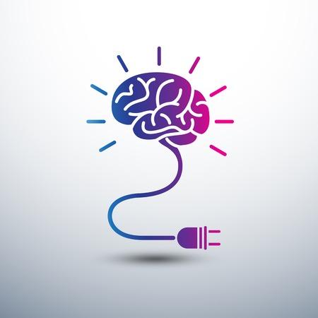 Illustration pour Creative brain Idea concept with light bulb and plug icon ,vector illustration - image libre de droit