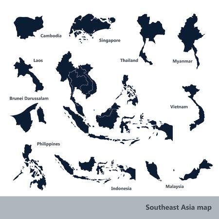 Illustration pour Asian Economic Community, Association of Southeast Asia map vector Illustration - image libre de droit
