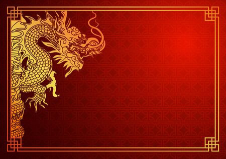 Ilustración de Chinese traditional template with chinese dragon on red Background - Imagen libre de derechos