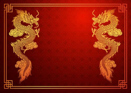 Illustration for Chinese traditional template with chinese dragon on red Background - Royalty Free Image