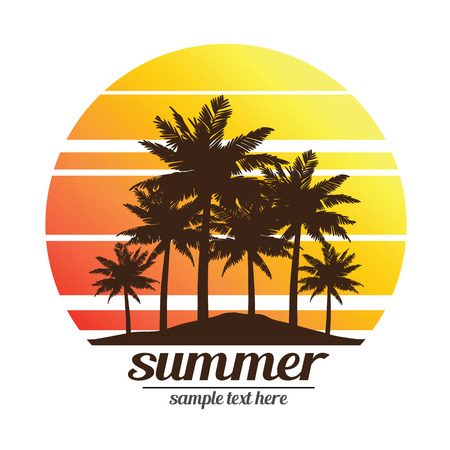 Illustration for summer vacation on tropical beach Sunset with Palm trees vector illustration - Royalty Free Image
