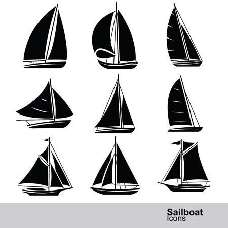 Ilustración de sailboat silhouette icon set ,vector illustration - Imagen libre de derechos