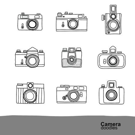 Illustration pour Retro camera doodles icons set , vector Illustration - image libre de droit