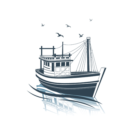 Ilustración de Fishing Boat side view on sea , vector illustration - Imagen libre de derechos