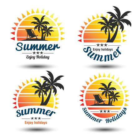 Illustration pour Summer holidays design elements set. Retro and vintage templates. Labels, Badges,emblem,vector illustration - image libre de droit