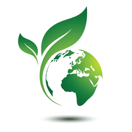 Illustration for Green earth concept with leaves,vector illustration - Royalty Free Image