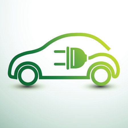 Foto per Electric car concept green drive symbol,vector illustration - Immagine Royalty Free