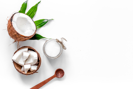 Photo for Coconut cosmetics on white background top view - Royalty Free Image