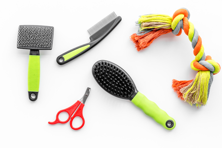 Foto per grooming tools for training pet and brushes on white desk background top view - Immagine Royalty Free