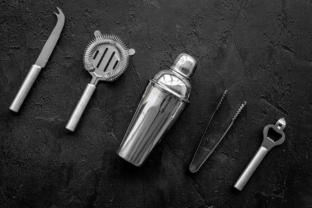 Photo pour Instruments bartender on black background top view. - image libre de droit