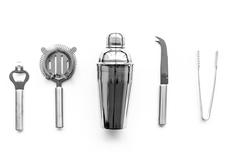 Photo for Barman equipment. Shaker, strainer on white background top view. - Royalty Free Image