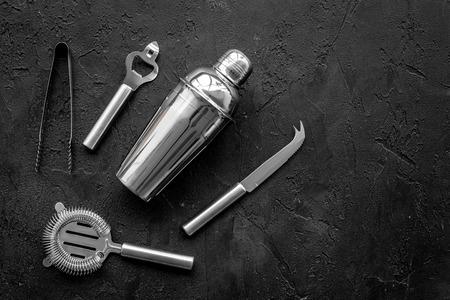 Photo pour Instruments bartender on black background top view copyspace - image libre de droit