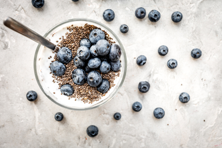 Photo pour How to eat chia seeds. Dessert with yogurt, chia and blueberries on grey top view - image libre de droit