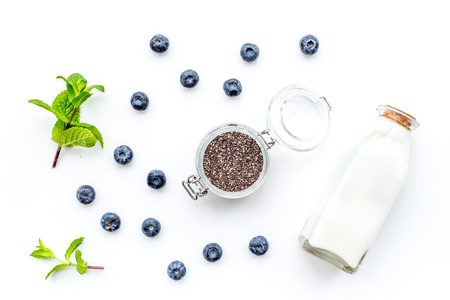 Photo pour Eat chia seeds for breakfast with yogurt, blueberry and mint. White background top view - image libre de droit