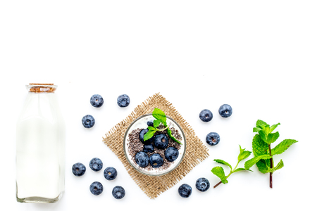 Photo pour Eat chia seeds for breakfast with yogurt, blueberry and mint. White background top view copyspace - image libre de droit
