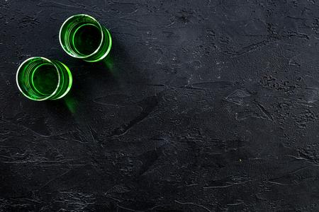 Foto de Absinthe shots on black background top view copy space - Imagen libre de derechos