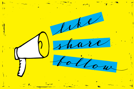 Ilustración de Share icon megaphone - communication and promotion strategy with social media on yellow background - Imagen libre de derechos