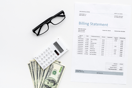 Photo pour Pay bills and taxes. Billing statement, calculator, money on white background top view copy space - image libre de droit