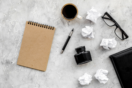 Photo for Writer workplace with tools for work on stone office table background top view mockup - Royalty Free Image