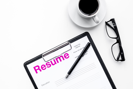 Photo for Resume of applicants near coffee, glasses on white background top view - Royalty Free Image