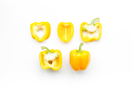 Photo for Layout of yellow sweet bell pepper slices on white background top view pattern - Royalty Free Image
