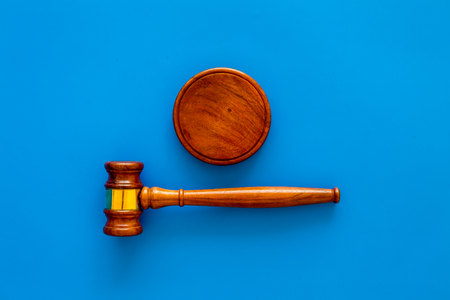Photo for Law and court. Lawyer, attorney, judge concept. Judge gavel on blue background top view copy space - Royalty Free Image