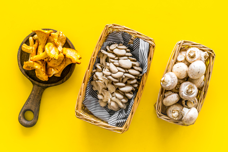 Photo for Cook mushrooms concept. Champignons, oysters, chanterelles in basket and on frying pan on yellow background top view - Royalty Free Image