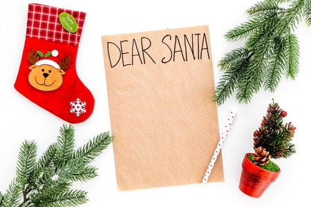 Foto per Blank Christmas letter to Santa with Christmas theme decorations around it - Immagine Royalty Free