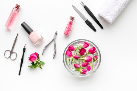 Photo for manicure tools set for nail care on white background top view - Royalty Free Image