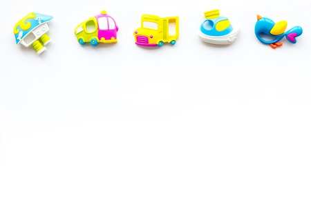 Photo pour Craft toys for kids. Developing rattle for the smallest. White desk background top view mock up - image libre de droit
