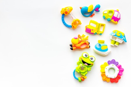 Photo pour Craft toys for kids. Developing rattle for the smallest. White background top view mock up - image libre de droit