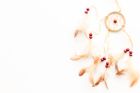 Photo for Asian attributes. Dream catcher on white background top view. - Royalty Free Image