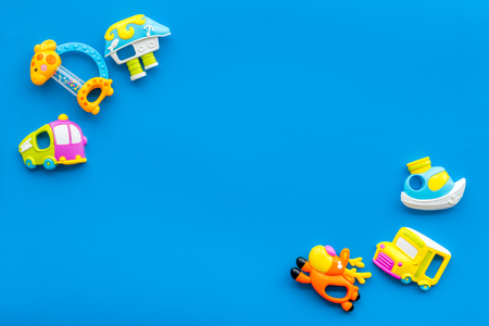 Photo pour Craft toys for kids. Developing rattle for the smallest. Blue background top view mock up - image libre de droit