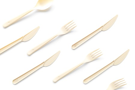 Photo for Eco and plastic utilization concept with flatware on white background top view pattern - Royalty Free Image