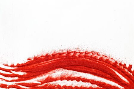 Photo for Modern wave for blor with red sand texture on white background top view mockup - Royalty Free Image