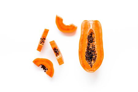 Photo for Sliced papaya on white background top view copy space - Royalty Free Image