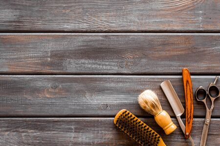 Photo for Mens shaving accessories on dark wooden background top view space for text - Royalty Free Image