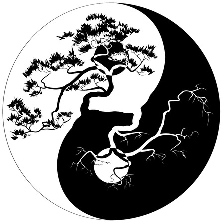 Illustrazione per Black and white Bonsai tree on the Yin Yang symbol - Immagini Royalty Free
