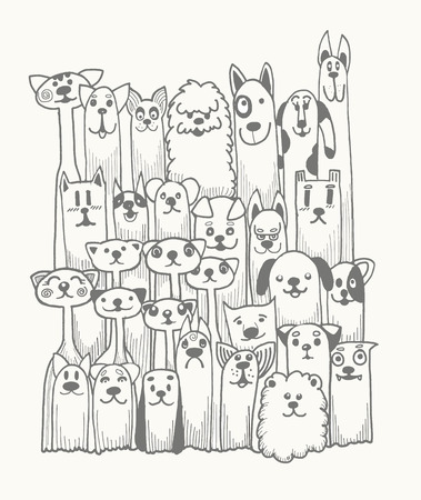 Ilustración de hand drawn doodle Funny Dogs Set, Vector illustration. - Imagen libre de derechos